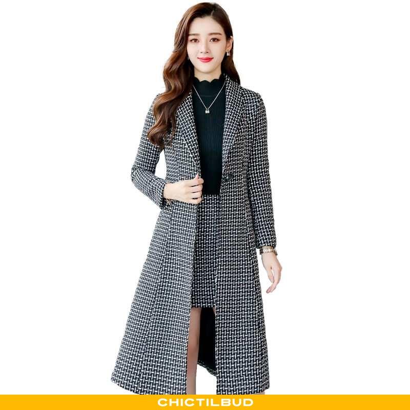 Uldfrakke Dame Frakke Vinter Midten