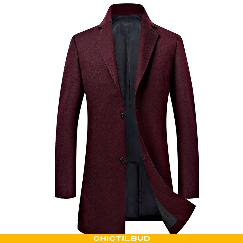 Uldfrakke Herre Frakke Uld Casual Rød