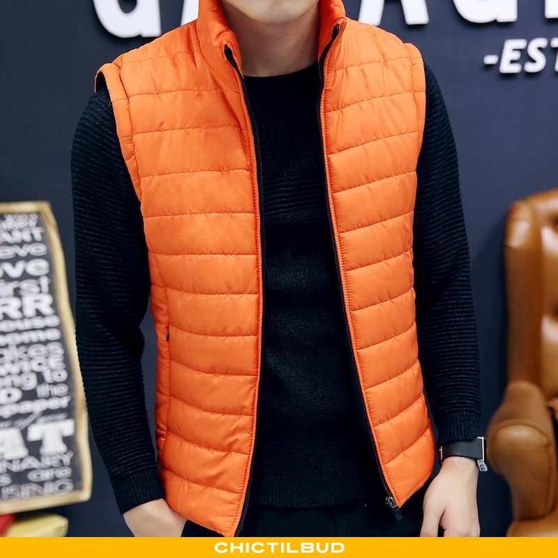 Vest Herre Frakke Mode Orange