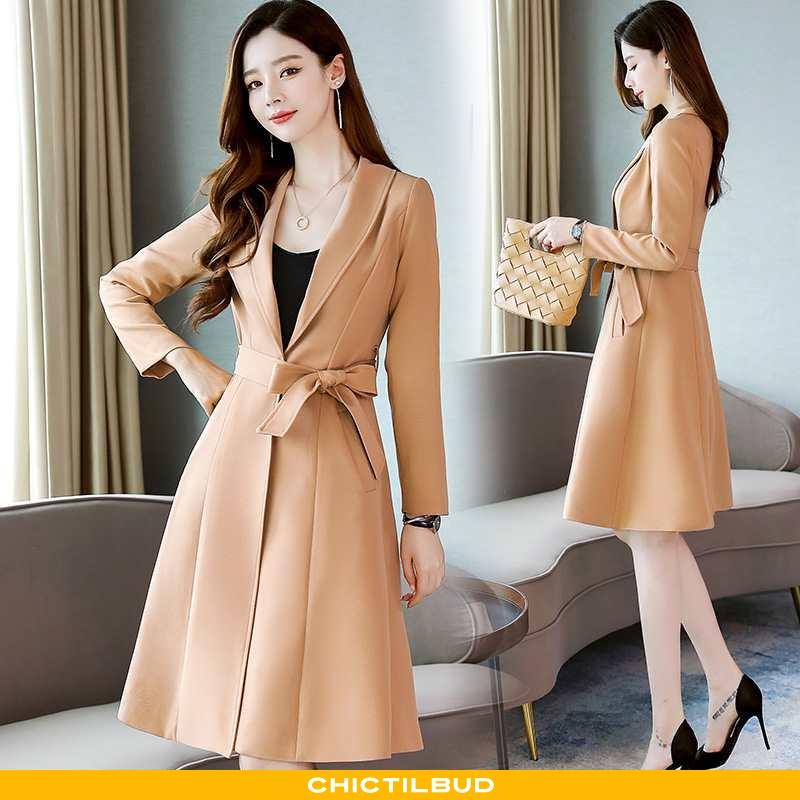 Vindjakke Dame Trenchcoat Mode Elegante