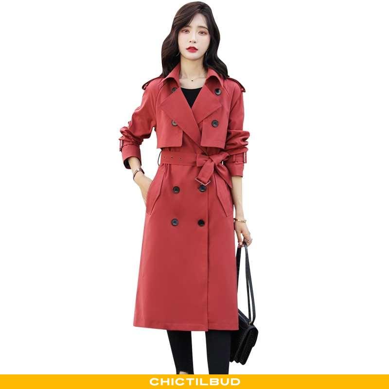 Vindjakke Dame Trenchcoat Mode Rød