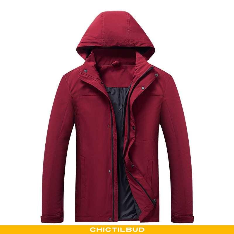 Vindjakke Herre Frakke Med Hætte Rød