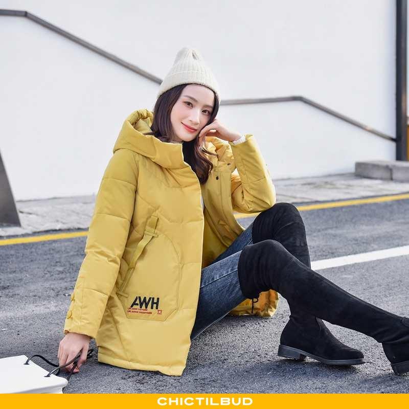 Vinterjakke Dame Bomuld Jakke Lang Gul