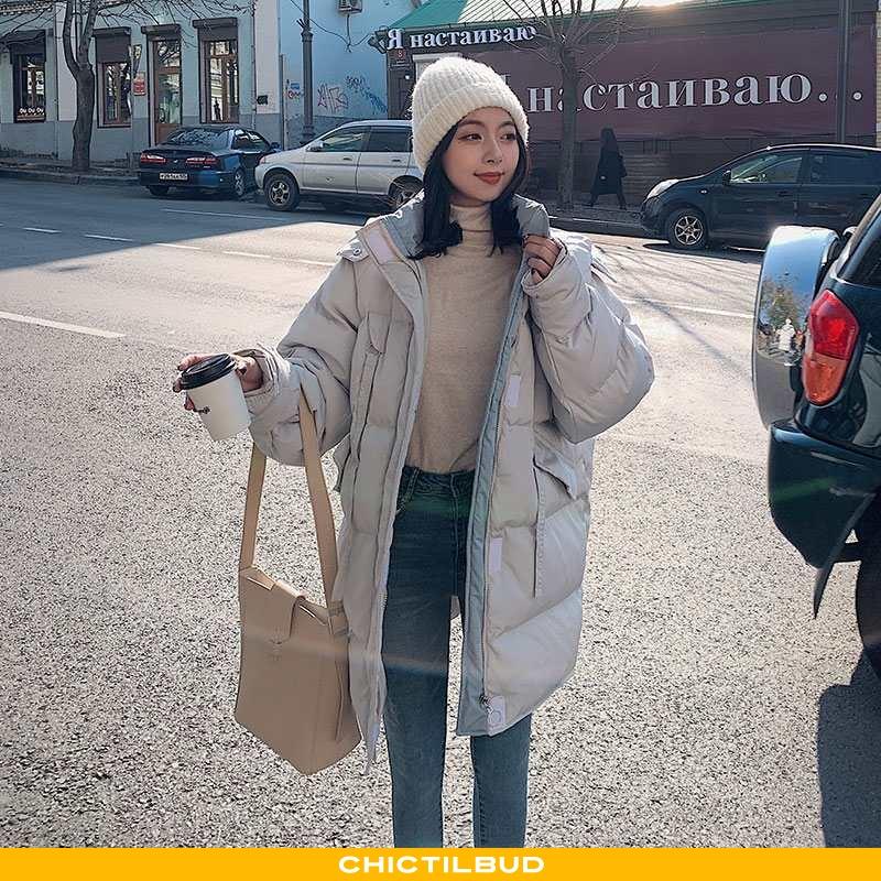 Vinterjakke Dame Bomuld Jakke Med Lynlås Super