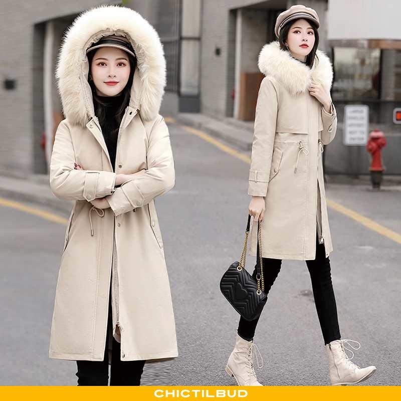 Vinterjakke Dame Bomuldsjakke Mode Khaki