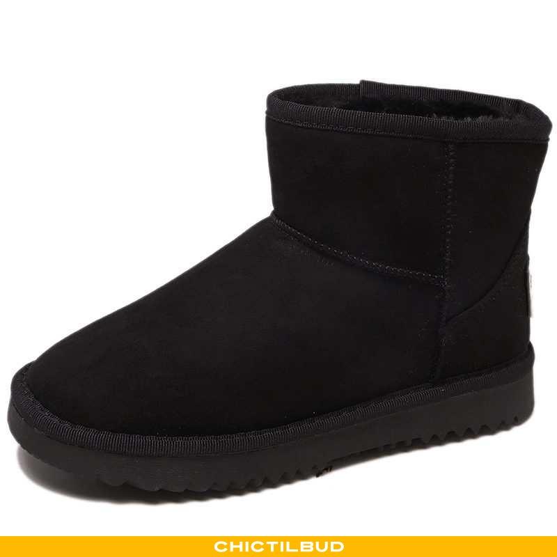 Vinterstøvler Dame Korte Støvler Bomuld Tykke Sort